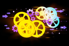 Colorful gears and cog wheel on a dark background Royalty Free Stock Image