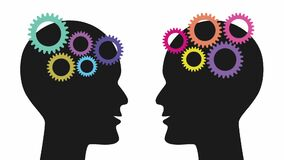 Colorful gears are emerging one by  one and starting to spin in the brains of two black silhouette heads. Animated film clip.