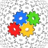 Colorful gears surrounded with white gears Stock Photos