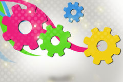 colorful gears with waves, abstract background Stock Images