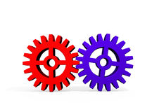 Colorful Gears on White. Two colorful gears, red and blue, on a white background. Computer-generated image vector illustration