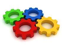 Colorful Gears on white Stock Photography