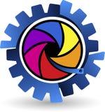 Colorful gearwheel logo. Illustration art of a colorful gearwheel logo with  background Stock Photography