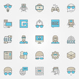 Colorful geek icons set. Vector modern nerd signs and geek people concept symbols or logo elements for your design vector illustration