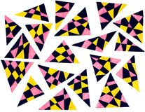 Colorful gel pen drawing of triangles. On white background Stock Image