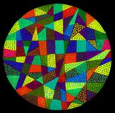 Colorful circle on a black background. A colorful gel pen hand drawn circle with a dot pattern on a black background Stock Photography