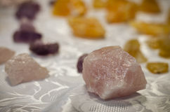 Colorful gem stones. Pink and yellow gem stones Royalty Free Stock Images