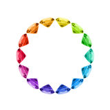 Colorful Gem Wheel. Colorful gems arranged in a circle Stock Photo
