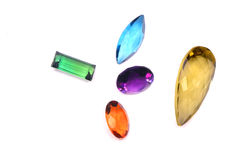 Colorful gems isolated on white background Stock Photos