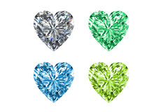 Colorful gems in shape of heart isolated on white background. High resolution 3D render. Royalty Free Stock Photos