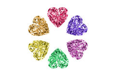 Colorful gems in shape of heart isolated on white background. High resolution 3D render. Royalty Free Stock Photo