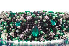 Colorful gems.stones of emerald color stock photography