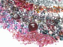 Colorful gems in white background Royalty Free Stock Image