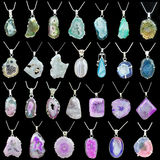 Colorful gemstone pendant necklaces Royalty Free Stock Images