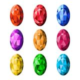 Colorful gemstones isolated on white background, different color. S, vector illustration Royalty Free Illustration