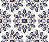 Colorful gemstones round rosettes seamless pattern Stock Photos