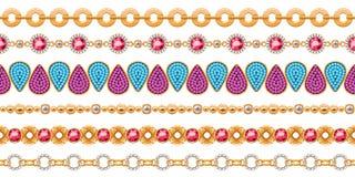 Colorful gemstones seamless horizontal borders set. Colorful gemstones and chains seamless horizontal borders set. Good for bracelet necklace jewelry design royalty free illustration