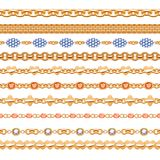 Colorful gemstones seamless horizontal borders set. Colorful gemstones and chains seamless horizontal borders set. Good for bracelet necklace jewelry design Stock Illustration