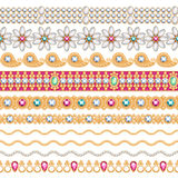 Colorful gemstones seamless horizontal borders set. Ethnic indian style design. Chain bracelet necklace jewelry Vector Illustration