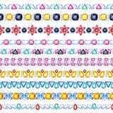 Colorful gemstones seamless horizontal borders set. Ethnic indian style design. Chain bracelet necklace jewelry Royalty Free Stock Photography