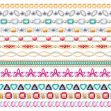 Colorful gemstones seamless horizontal borders set. Ethnic indian style design. Chain bracelet necklace jewelry Stock Illustration