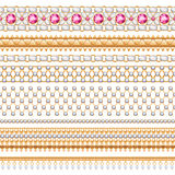 Colorful gemstones seamless horizontal borders set. Ethnic indian style design. Chain bracelet necklace jewelry Royalty Free Illustration