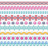 Colorful gemstones seamless horizontal borders set Royalty Free Stock Images