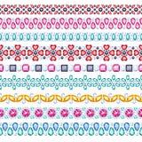 Colorful gemstones seamless horizontal borders set Royalty Free Stock Images