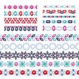 Colorful gemstones seamless horizontal borders set. Ethnic style design. Chain bracelet necklace jewelry Stock Illustration