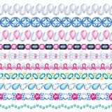 Colorful gemstones seamless horizontal borders set. Ethnic style design. Chain bracelet necklace jewelry Vector Illustration