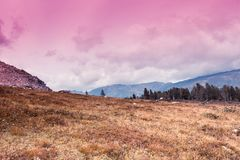 Colorful gentle hills. In the cloudy sky Stock Photography