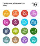 Colorful Geolocation, navigation, trip icons for web and mobile design pack 3 Royalty Free Stock Photos