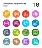 Colorful Geolocation, navigation, trip icons for web and mobile design pack 2 Stock Images