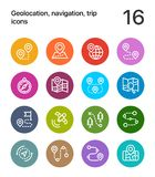 Colorful Geolocation, navigation, trip icons for web and mobile design pack 1 Royalty Free Stock Images