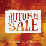 Colorful geometric background card with autumn sale logo. Vintage autumn geometric clearance banner. Stock Photo