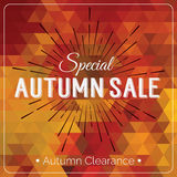 Colorful geometric background card with autumn sale logo. Vintage autumn geometric clearance banner. Royalty Free Stock Photo