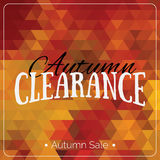 Colorful geometric background card with autumn sale logo. Vintage autumn geometric clearance banner. Stock Photos