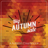 Colorful geometric background card with autumn sale logo. Vintage autumn geometric clearance banner. Stock Photography