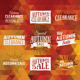 Colorful geometric background card with set of autumn sale logos. Vintage autumn geometric clearance banner. Vector Orange Poster Royalty Free Stock Photos