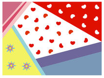 Colorful geometric background with heart and flower Stock Images