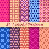 Colorful geometric bright seamless patterns. 10 Colorful geometric bright seamless patterns (tiling). Vector illustration for funny attractive design. Endless stock illustration