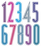 Colorful geometric bright striped numbers with triple lines. Royalty Free Stock Photos