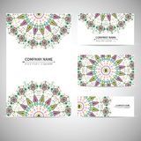 Colorful geometric card template in aztec style Royalty Free Stock Photo