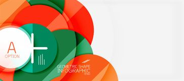 Colorful geometric circle modern abstract background. With infographics option elements. Business presentation template royalty free illustration