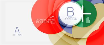 Colorful geometric circle modern abstract background. With infographics option elements. Business presentation template stock illustration