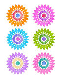 Colorful Geometric Flowers. A colorful set of round geometric flowers with a light texture and floral pattern Royalty Free Stock Image