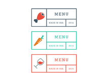 Colorful geometric hipster style restaurant menu badge sign vector graphic template isolated on white background Royalty Free Stock Photography