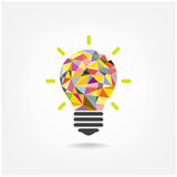 Colorful geometric light bulb creative concept bu
