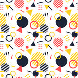 Colorful geometric memphis style pattern Royalty Free Stock Photos