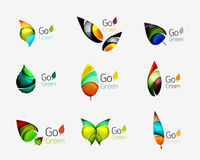 Colorful geometric nature concepts - abstract leaf logos, multicolored icons, symbol set Royalty Free Stock Photography